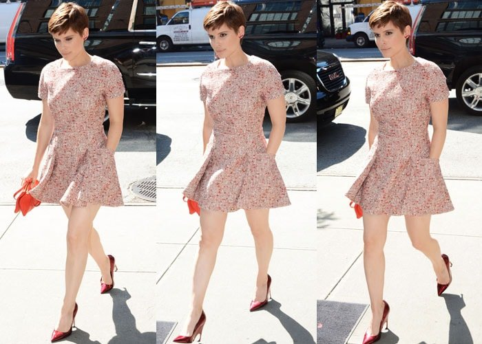 Kate Mara paraded her legs in a head-to-toe Dior look
