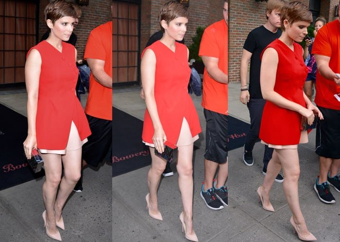 Kate Mara leaves her hotel in New York while flashing her sexy legs