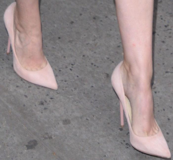 "Kate Mara's sexy feet in pink suede Jimmy Choo ""Abel"" pumps"