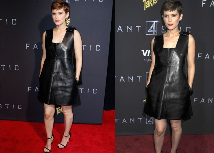 Kate Mara flashed her legs in a leather Valentino dress