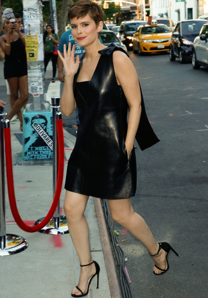 Kate Mara arriving at the New York premiere of Fantastic Four at the Williamsburg Cinemas