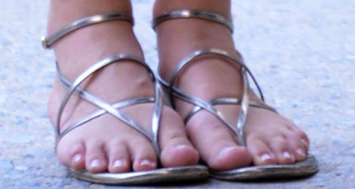 Keira Knightley shows off her feet in silver Sergio Rossi sandals