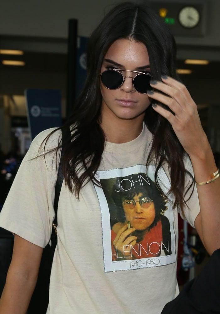 Kendall Jenner's John Lennon shirt from Fan Merchandise