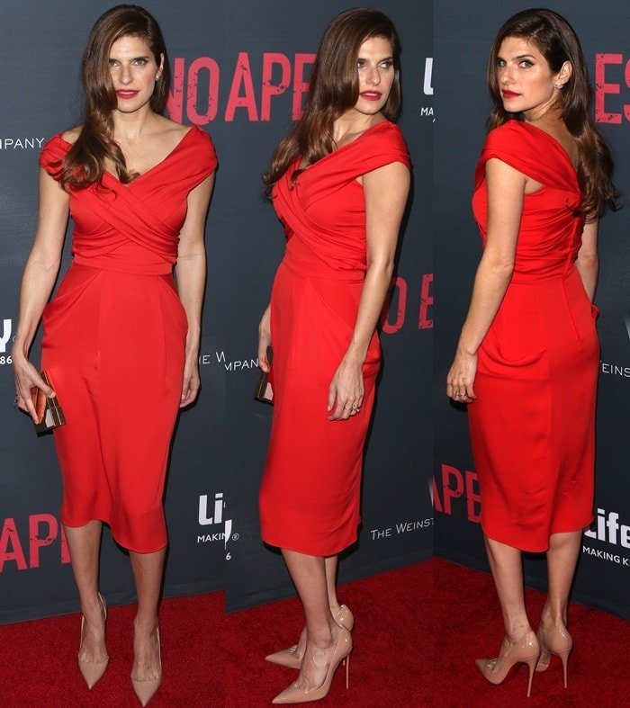 Lake Bell flashed her legs in a Vionnet red silk off-the-shoulder dress featuring a criss-cross bodice