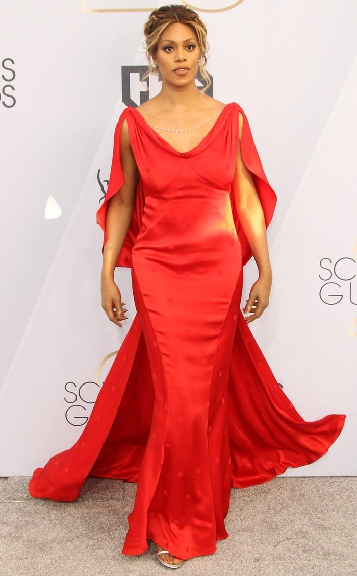 Laverne Cox looked radiant in red at the 2019 Screen Actors Guild Awards at the Shrine Auditorium in Los Angeles on January 27, 2019