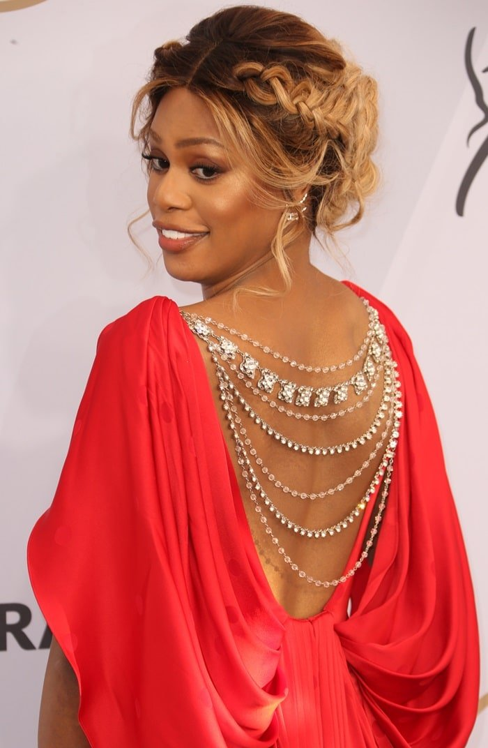 Laverne Cox shows off her necklace-embellished open back dress