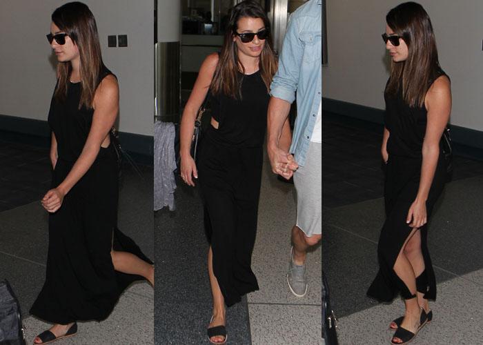 Lea Michele keeps things sleek as she wears her brunette hair down in an all-black look