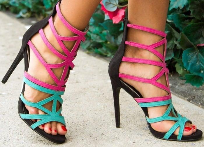 Leola Tri-Tone Caged Sandals