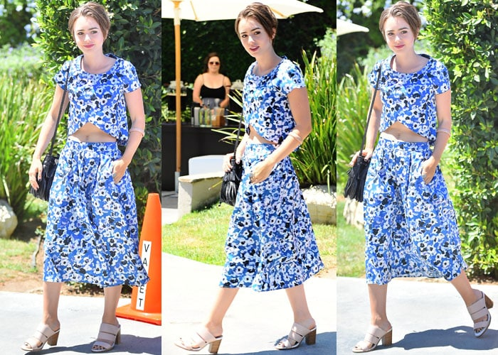 Lily Collins in a two-piece ensemble from Sam & Lavi