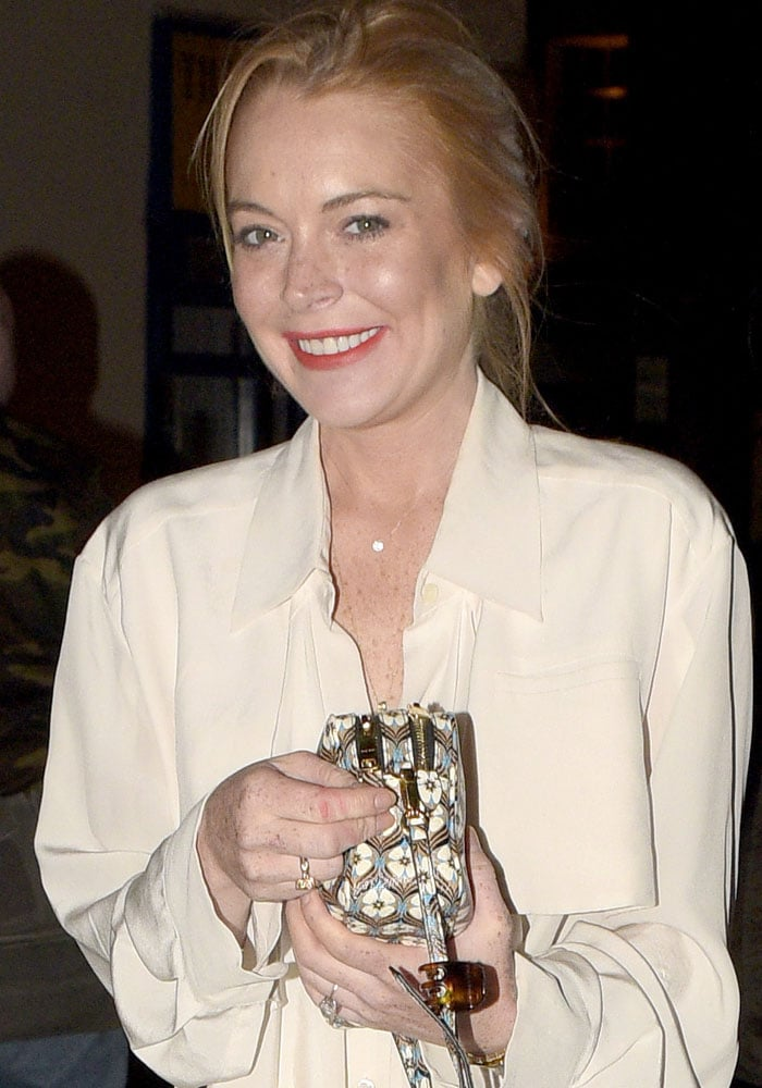 Lindsay Lohan attends dinner at the Chiltern Firehouse