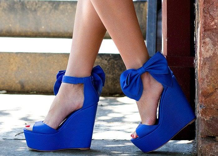 "Privileged ""Lindsey"" Bow Ankle Strap Platform Wedge Sandals"