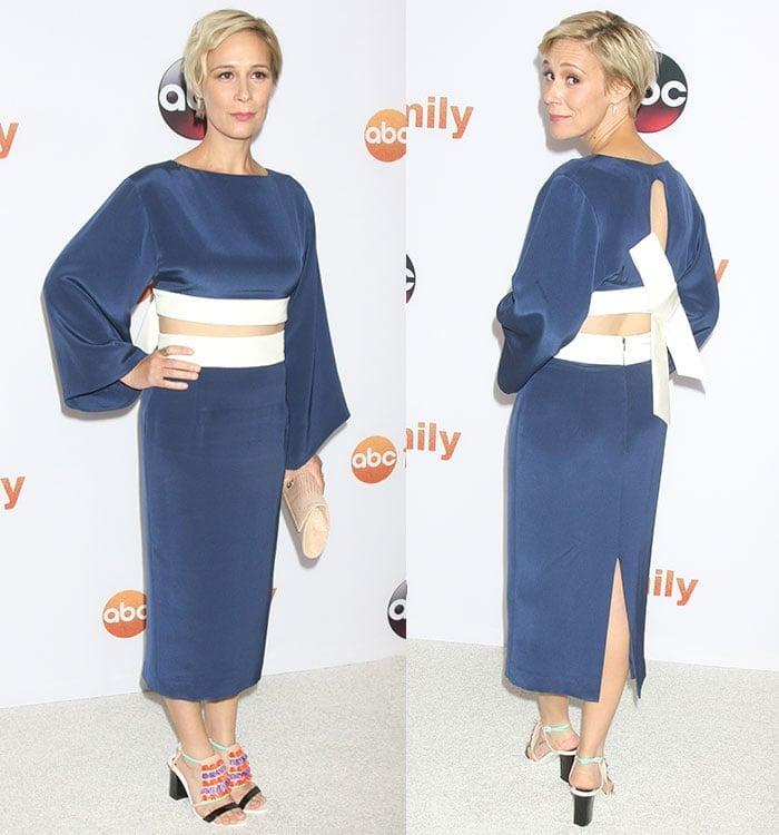 Liza-Weil-blue-satin-kimono-inspired-dress