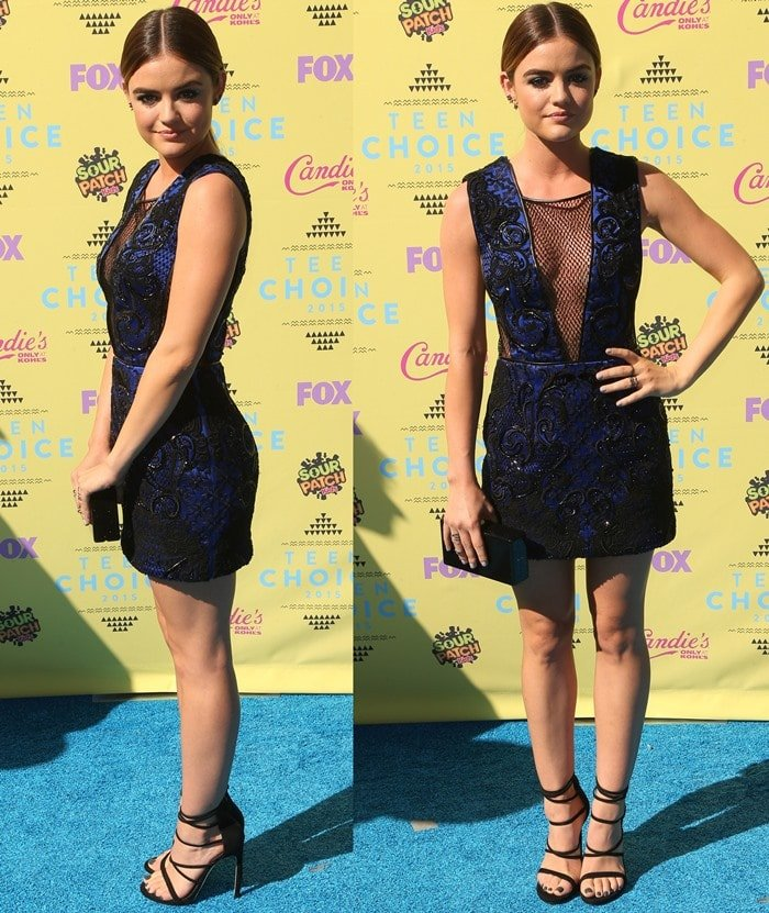 Lucy Hale shows off the front and side view of her embroidered Julien Macdonald dress