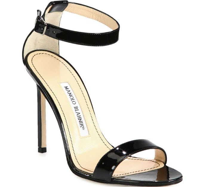 Manolo Blahnik 'Chaos' sandals in black patent