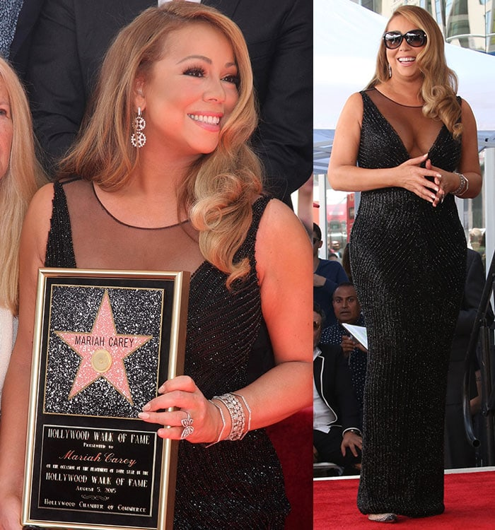 Mariah Carey accessorized with diamond drop earrings and a huge butterfly ring
