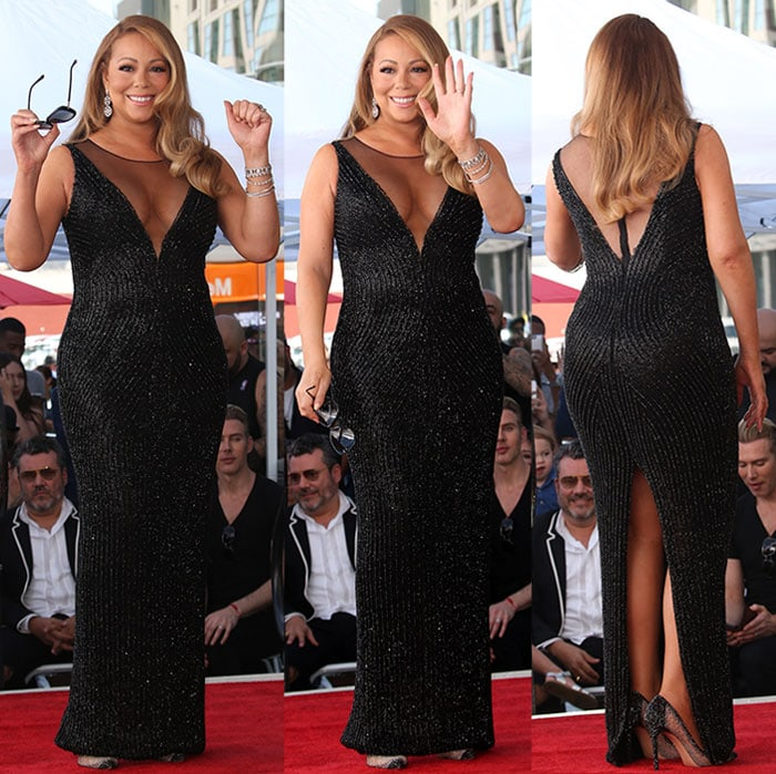 Mariah Carey celebrating her star on the Hollywood Walk of Fame