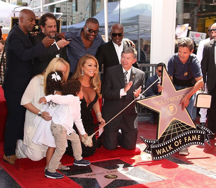 Mariah Carey joined by her twins, Moroccan and Monroe, as she was honored with a star on the Hollywood Walk of Fame