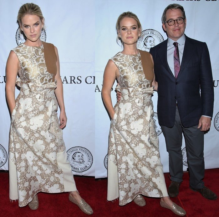 Alice Eve shows off her gold-and-cream Stella McCartney outfit on the red carpet