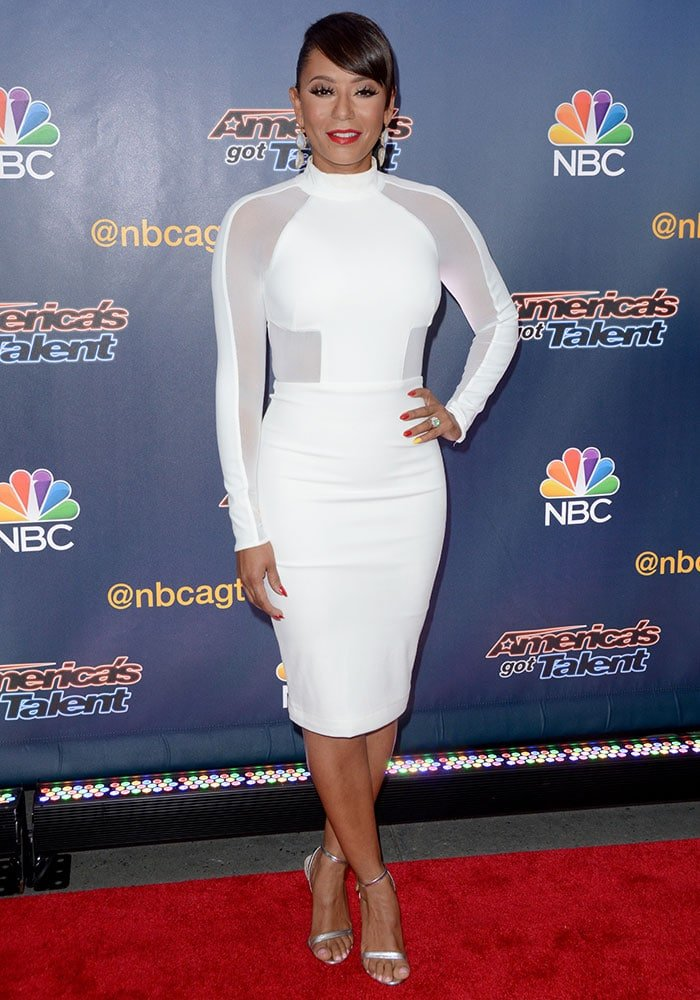 Mel-B-fitted-white-sheer-paneled-dress