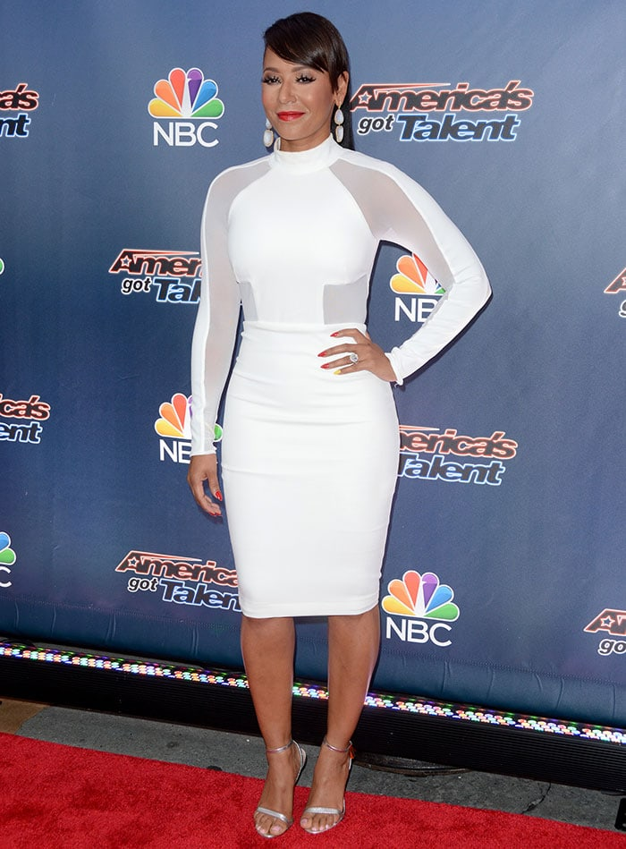 Mel-B-form-fitting-sheer-paneled-white-dress