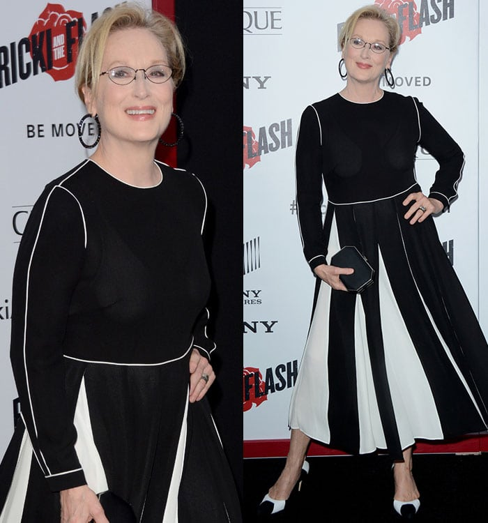 """Meryl Streep in a Valentino Fall 2015 dress at the premiere of """"Ricki and the Flash"""""""