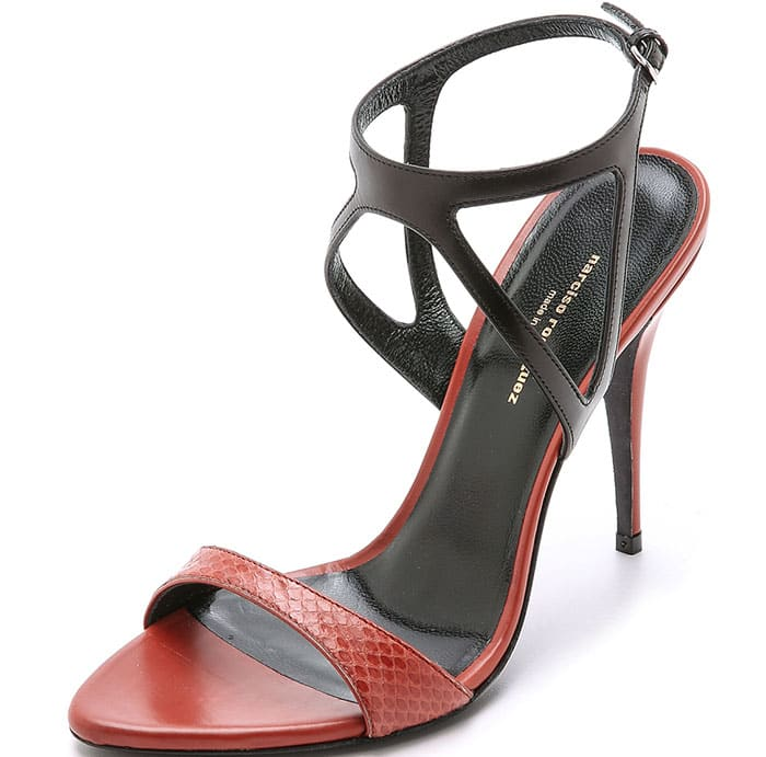Narciso Rodriguez Carolyn Sandals Black Red Snake