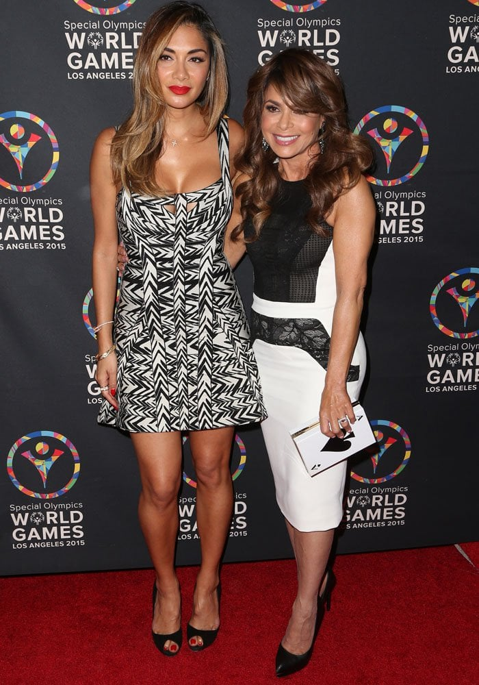 Nicole Scherzinger and Paula Abdul arrive for the Special Olympics celebrity dance challenge