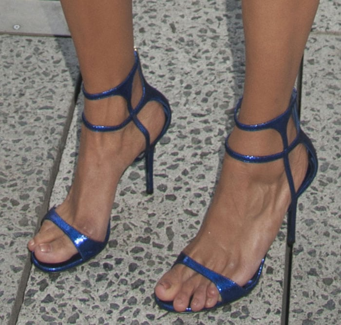 Nina Dobrev shows off her sexy long toes in electric blue sandals