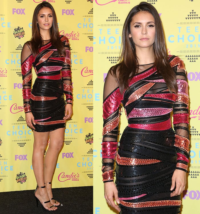 Nina Dobrev in a Zuhair Murad dress at the Teen Choice Awards 2015 at USC Galen Center in Los Angeles on August 16, 2015