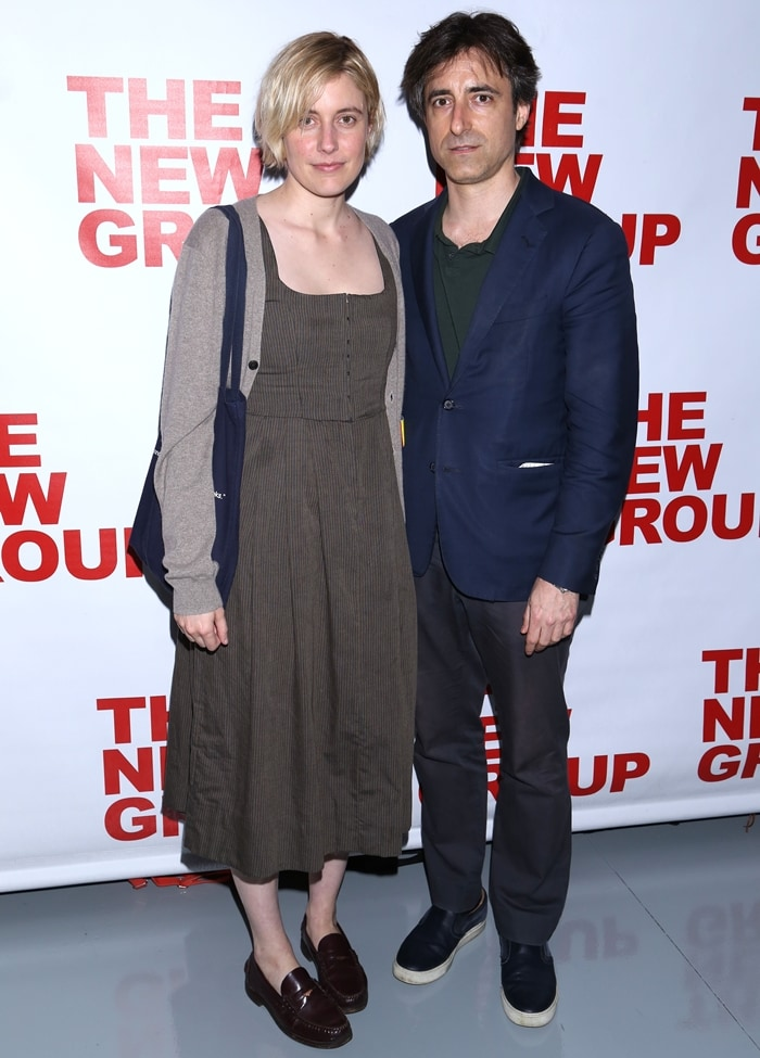 "Greta Gerwig and Noah Baumbach pose at the opening night after-party for The New Group Theater's new play ""Peace For Mary Frances"""