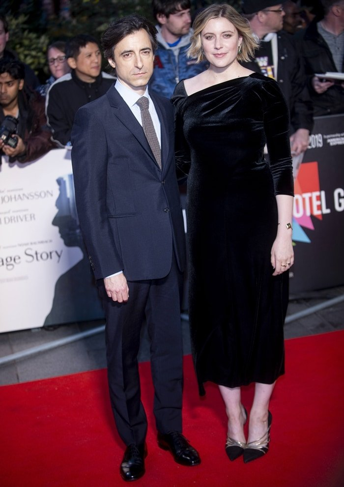 "Noah Baumbach and his girlfriend Greta Gerwig at the UK premiere of ""Marriage Story"""
