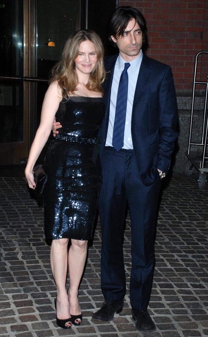 Jennifer Jason Leigh and Noah Baumbach attend the Margot at the Wedding premiere