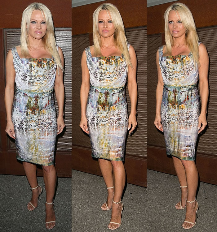 Pamela Anderson in a paint-effect draped mini dress at the Mercy for Animals Hidden Heroes Gala in Los Angeles on August 29, 2015