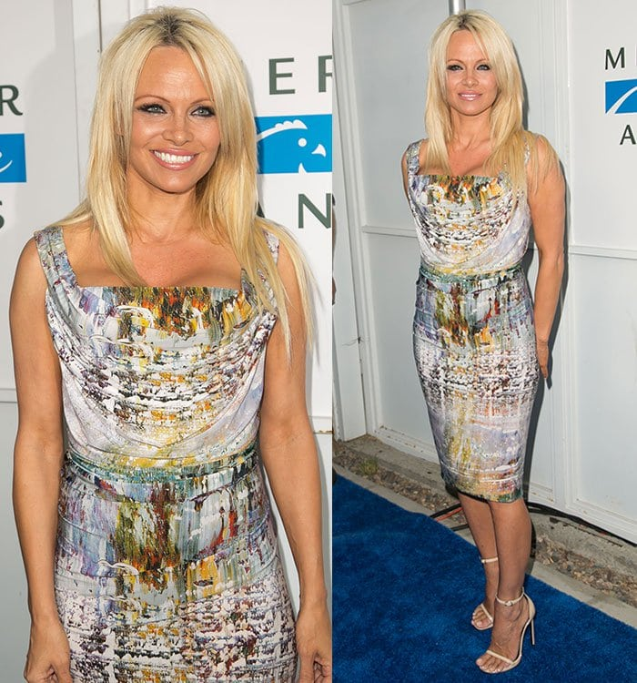 Pamela Andersonin a simple cocktail dress that flattered her curves