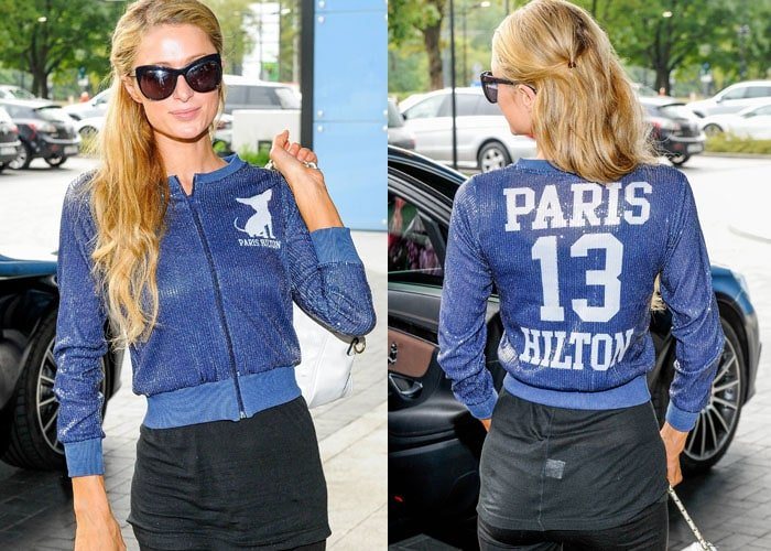 Paris flaunts the front and back of her custom blue sequined jacket