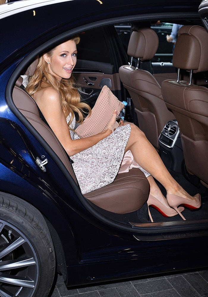 Paris Hilton leaving her hotel in Warsaw to attend a photocall at the Ptak Fashion Center in Poland