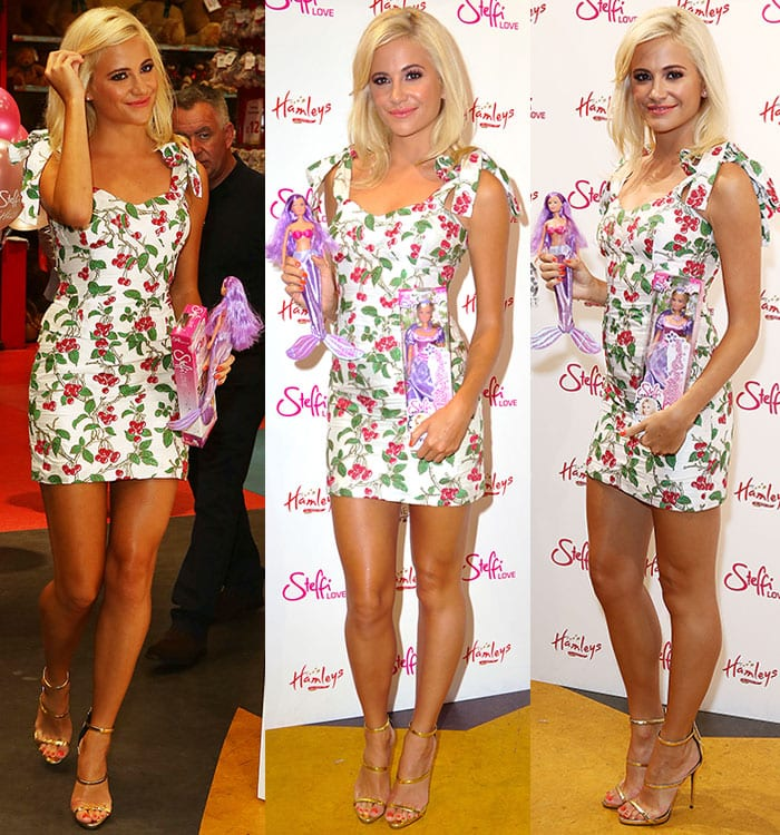 Pixie-Lott-shows-legs-Bambah-Boutique-cherry-printed-dress