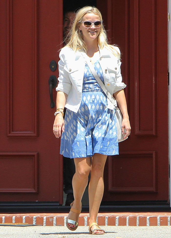 Reese-Witherspoon-blue-Joie-dress-white-jacket-sandals
