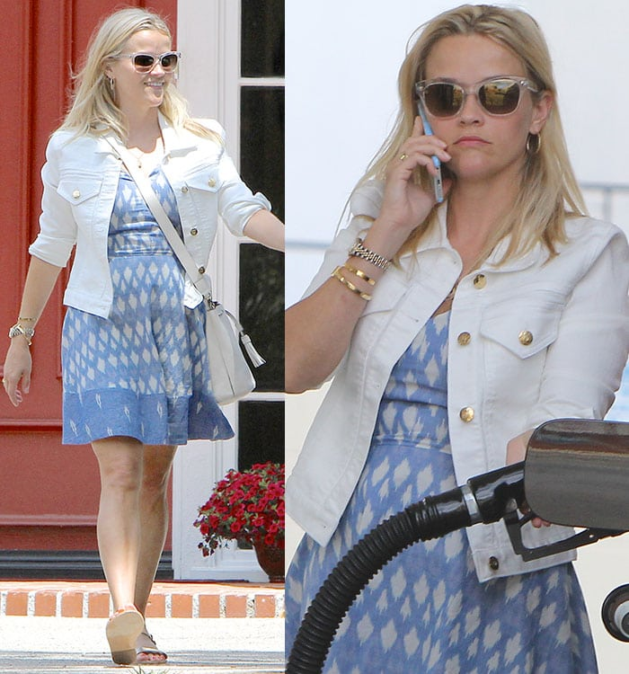 Reese-Witherspoon-blue-mini-dress-white-denim-jacket