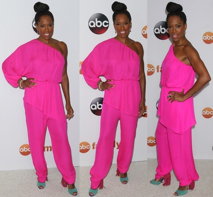 Regina King rocked a pink one-shoulder jumpsuit by Tamara Mellon