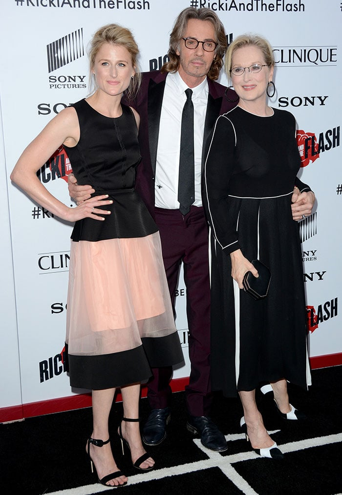 """Mamie Gummer, Rick Springfield, and Meryl Streep at the premiere of """"Ricki and the Flash"""""""