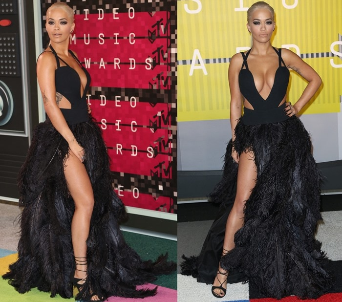 Rita Ora poses and shows off her long legs in a stunning feathered Vera Wang gown