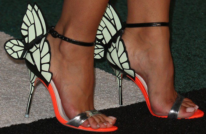"Sophia Webster shows off her pretty feet in ""Chiara"" sandals with butterfly wings"