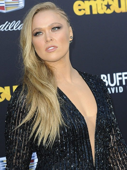 Ronda Rousey giving the cameras a fierce look