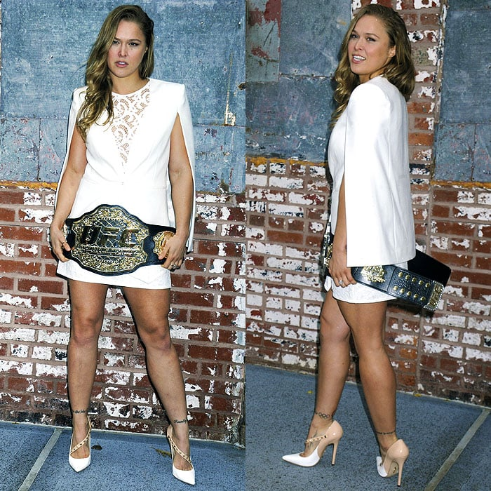 Ronda Rousey at the Reebok and UFC Long-Term Partnership Announcement at Industria Studios in New York City on December 2, 2014