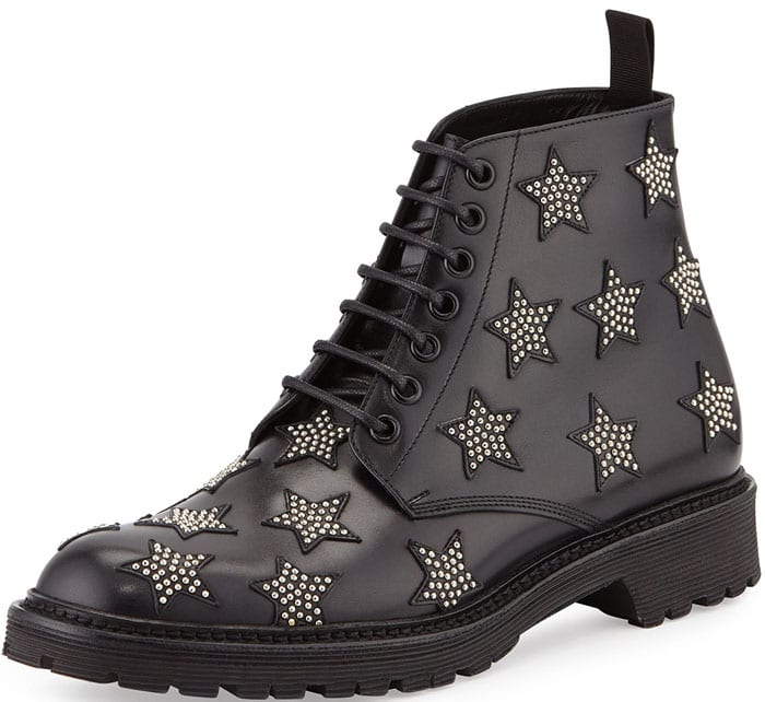 Saint Laurent Army Star-Studded Leather Boot in Black