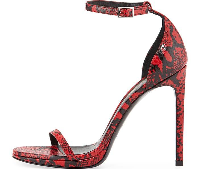 Saint Laurent Jane Snake Embossed Leather Sandals