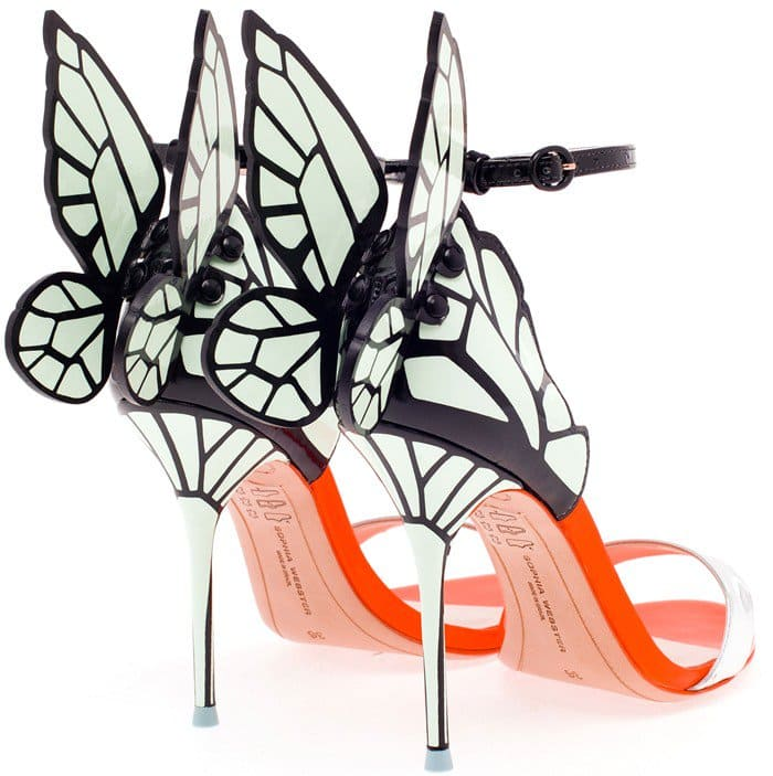 Sophia Webster's glossy neon sandals with vinyl butterfly wings