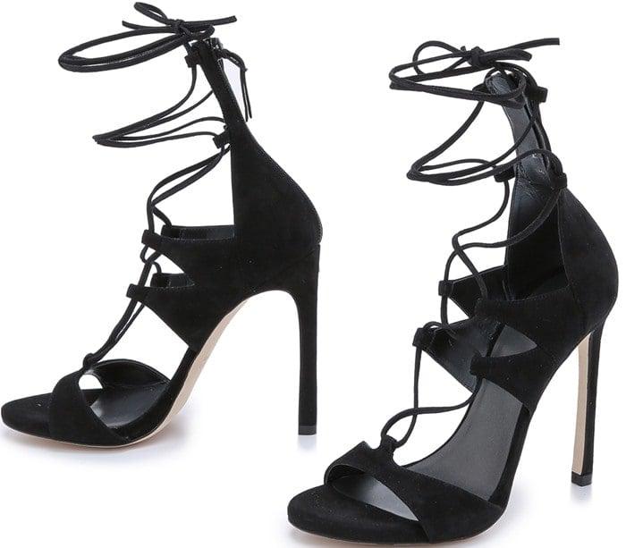 Stuart Weitzman Black Leg Wrap Suede Sandals