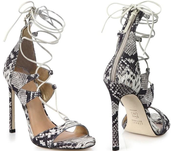 Stuart Weitzman Snake-Embossed Leather Lace-Up Sandals